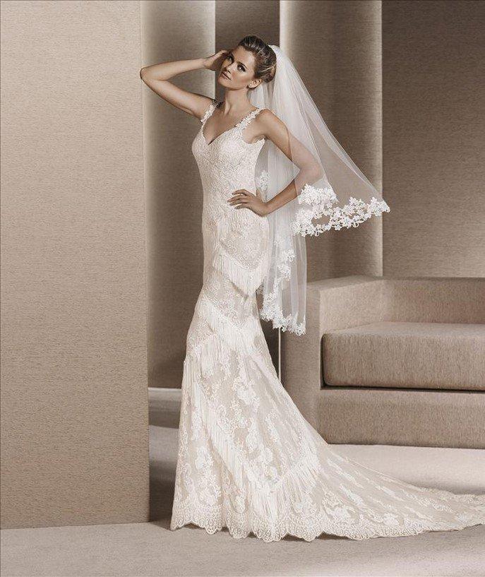 vestido de novia blanco natural / beig oscuro tul bordado & tul